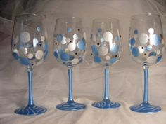 polka dot wine glasses with zebra print in blue and white - for a baby shower, bridal shower or bridesmaids by DelightfulFinds on Etsy https://www.etsy.com/listing/154258183/polka-dot-wine-glasses-with-zebra-print