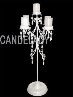 candelabro centro de mesa con caireles