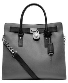 MICHAEL Michael Kors Handbag, Hamilton Saffiano Leather Tote, - Soft leather and luxurious 18K gold hardware grace this gorgeouis design from MICHAEL Michael Kors. This spacious tote shape is ideal for holding all your daily necessities in trés chic style.