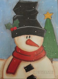 Calling All Snowman Collectors!    This one of a kind original mixed media painted canvas is just what you need to add to your collection!