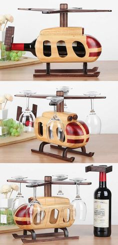 Wooden Helicopter Wine Bottle Holder Wine Glass Holder Stemware Rack Drying Stand