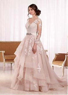 Buy discount Marvelous Tulle V-neck Neckline A-line Wedding Dresses With Lace Appliques at Dressilyme.com