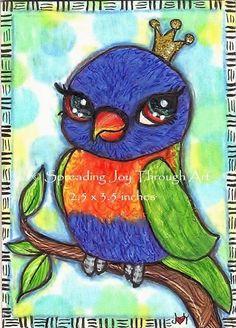 ACEO oRiGiNaL Joy Art Rainbow Lorikeet Bird Crown Royal Leaf Tree Colored Pencil #Miniature