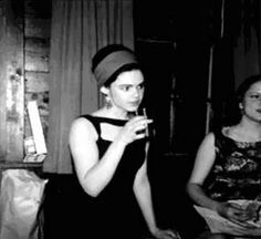 Edie Sedgwick at her 21st birthday party (Harvard Boat House -- Cambridge, MA).    http://kittensandaprons.blogspot.com/2012/12/an-ode-to-edie-edie-sedgwick.html#