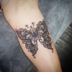 Butterfly lace tattoo tattoo ideas and inspiration tatoo but Lace Butterfly Tattoo, Lace Flower Tattoos, Butterfly Tattoo Designs, Dragonfly Tattoo, Black Lace Tattoo, Bow Tattoo Designs, Bild Tattoos, Up Tattoos, Body Art Tattoos