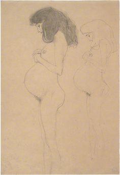 "Klimt, ""Pregnant Female Nude"" pregnant is beautiful! Gustav Klimt, Life Drawing, Figure Drawing, Franz Josef I, Mother Art, Sculpture, Japanese Art, Art Drawings, Illustration Art"