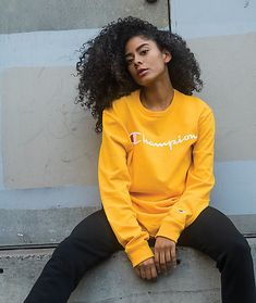 Known for their signature athletic style, Champion presents the Embroidered Script Gold Long Sleeve T-Shirt. This cotton long sleeve tee comes in a gold colorway and features a bold embroidered Champion logo across the chest in white and red. Champion Sweatpants, Champion Shirt, Champion Pullover, Champion Brand, Jogger Sweatpants, Cute Nike Outfits, Cute Comfy Outfits, Chill Outfits, Swag Outfits