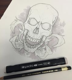 Doing some product testing at the Thalo offices. Having fun with #kohinoorhardmuth  and #spectramarkers doodling a #skull with some #filigree using a 2H and a 30% Warm Gray. Hope you like it! #isithalloweenyet #skulltattoo #drawing #illustration #practicing #sketching #draweveryday #scary #spooky #fun