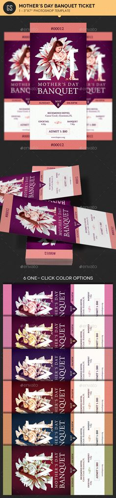 Mothers Day Banquet Ticket Template PSD. Download here: https://graphicriver.net/item/mothers-day-banquet-ticket-template/16029586?ref=ksioks