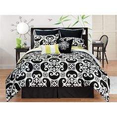 @Overstock - Featuring a chic black and white background, this captivating comforter reverses to bold lime and white stripes for a refreshing appeal. Simply striking, this set brings to mind the beauty of architectural details in decidedly modern style.http://www.overstock.com/Bedding-Bath/Kennedy-Reversible-8-piece-Comforter-Set/7505355/product.html?CID=214117 $69.99