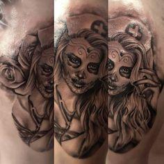 Day of the dead nurse tattoo.