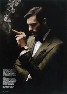 Aristotelis Bolovinos in an editorial for the latest issue of Rake Magazine. Smoking Is Bad, Man Smoking, Cigar Smoking, Fashion Photography Poses, Photography Poses For Men, Portrait Photography, Clothing Brand Logos, Mens Photoshoot Poses, Cigar Men