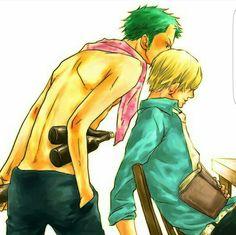 Zoro, Sanji, yaoi, sleeping, book, blushing, kiss, booze, sake; One Piece