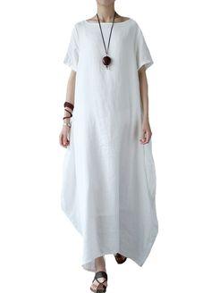Women Cotton Linen Solid Short Sleeve Tunics