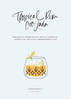 Tropical Rum CocoLada / Illustrated Recipe by Cocorrina