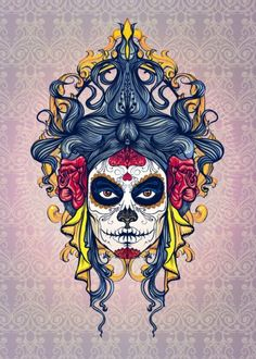 dia de los muertos day of dead skull head girl woman beauty hair mexican death rose blue vintage Characters