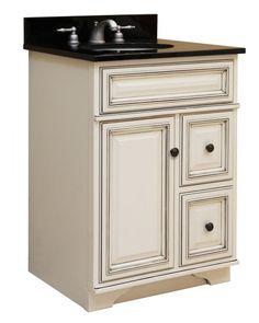 "Sunny Wood SL2421D Sanibel 24"" Maple Wood Vanity Cabinet Only Glazed White Fixture Vanity Single"