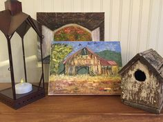 Original Oil Paintings with Old Birdhouse