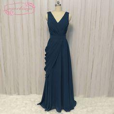 791d9ae604f SuperKimJo Chiffon Cheap Bridesmaid Dresses Long Teal Blue Pleated Wedding  Guest Dresses Vestido Madrinha Casamento Longo