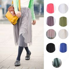 Discount China china wholesale Women Girls Spring Chiffon Pleated Knee Length Skirt Elastic Waistband 10 Color [30364] - US$15.61 : DealsChic