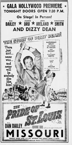 The Pride of St. Louis Opens at the Missouri Theatre, Vintage Movie Theater, Vintage Movies, Vintage Ads, Missouri Town, Baseball Movies, Chicago Cubs Fans, Fabulous Fox, Old Movie Posters