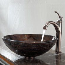 "View the Kraus C-GV-580-12mm-1005 16-1/2"" Copper Illusion Glass Vessel Bathroom Sink with Vessel Faucet and Pop-Up Drain at FaucetDirect.com."