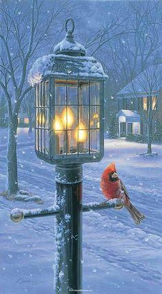 Winter scene with Cardinal....just beautiful !!!