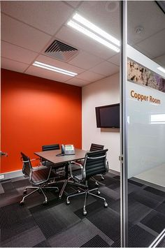 Conference rooms can use a pop of color to add interest and keep workers from dreading going into the room. Keeps up some interest. Corporate Interior Design, Interior Design Work, Office Furniture Design, Corporate Interiors, Office Interiors, Wood Furniture, Commercial Design, Commercial Interiors, Open Office Design