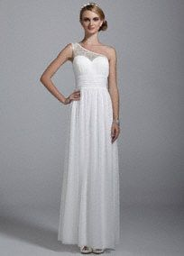 Fit for the bride to be, you will look like the goddess of romance in this alluring wedding dress!  One shoulder illusion ruched bodice with sweetheart neckline is adorned with beaded detailing.  Ruched waist creates a stunning silhouette.  Long soft flowing mesh skirt is comfortable and chic.  Fully lined. Invisible side zipper. Imported polyester. Dry clean only.  Available in Soft White.  To protect your dress, try our Non Woven Garment Bag.