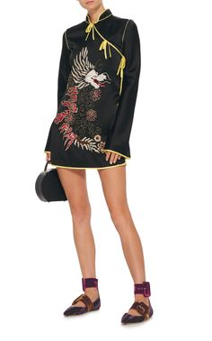 Stella Embroidered Kimono Satin Dress  by Attico | Moda Operandi