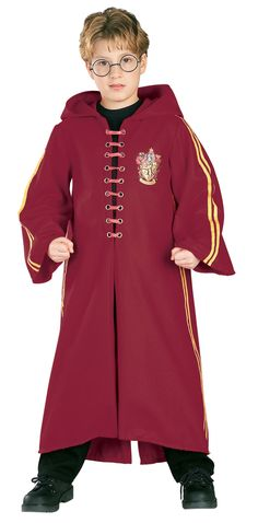 Harry Potter Quidditch Robe Super Deluxe Child Costume - Includes a deluxe Harry Potter Quidditch ankle length robe is crimson with attached hood, yellow side stripes, front laces for closure and a Gryffindor crest. This is an officially licensed Harry Potter costume. Available in Child sizes: Small (4-6), Medium (8-10), and Large (12-14). Glasses not included. 100% Polyester exclusive of trim, Hand wash cold, line dry. Please Note: exact shade of crimson may vary from shown. Medium.