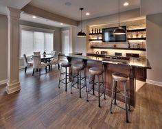 Home Bar: Granite Counter Top, Light Up Bar, Mounted TV, Bar Stools