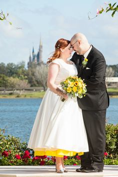 Shelley & Tim pose at Picture Point after their Wedding Pavilion Disney wedding ceremony