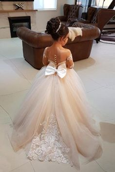 34070d6a33e Elegant Long Sleeves Lace Applique Tulle Flower Girl Dresses with A Bow