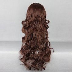 Harajuku Brown Side Bang Wavy Long Costume Cosplay Wig High... ($15) ❤ liked on Polyvore featuring beauty products, haircare and hair styling tools