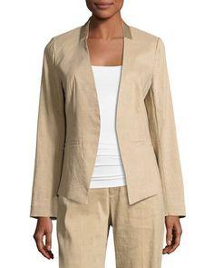KOBI HALPERIN Claudia Lace-Trim Linen-Blend Blazer Jacket. #kobihalperin #cloth #