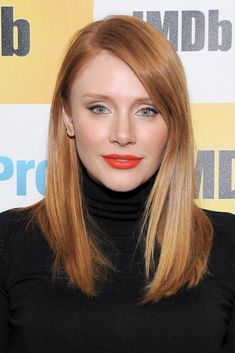 """Cinnamon Strands - Bryce Dallas Howard has a red hair color everyone loves. It's fiery and vibrant yet is still a deep red — it's perfect for fall. Look for terms like """"cinnamon"""" and """"copper"""" on at-home box kits."""