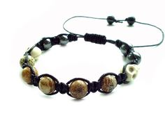 men's shamballa beaded bracelet handmade jewelry gift PICTURE JASPER&SKULL beads #Handmade #Shamballa #FormalandCasual