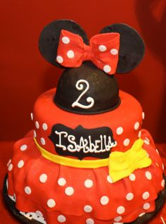 What a pretty Minnie Mouse girl birthday party cake!  See more party ideas at CatchMyParty.com!