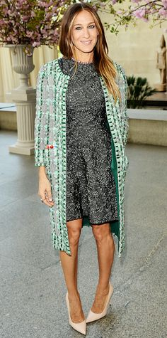 78a075260f3a Sarah Jessica Parker stepped out in an embellished olive green brocade fit- and-flared