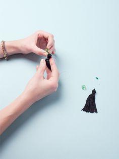 Runway-inspired tassel earrings from just a few simple supplies