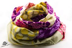 Loopschal Loop lila violett pink beige aus der Lieblingsmanufaktur: Hochwertige, bunte Patchwork - Lieblingsstücke