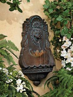 Lion Head Iron and Faux Stone Outdoor Patio Fountain