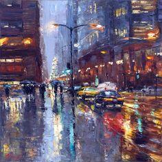 Radiant Flow of City Lights 36x36 Elena Bond – Mac Fine Art