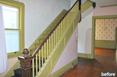 Room by Room Recap – Foyer and Stairs Pantone, Green Exterior Paints, Exterior Makeover, Old Houses, Foyer, Restoration, Home Improvement, Stairs, Building