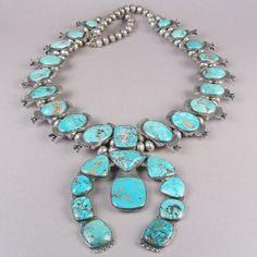 ~Vintage Navajo Squash Blossom Necklace...ca. 1940~