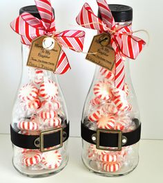 Peppermint Jars These are so cute! Fill a jar with little peppermint candies and then decorate the outside of the jar to look all Christmas-y. I love the little Santa belt wrapped around the bottom of the bottle—so cute!