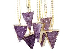 Triangle Amethyst Druzy Pendant Necklace by StaxxDesignsLLP, £14.99