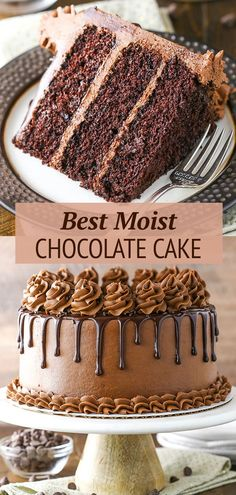 This is the Best Chocolate Cake recipe! Moist homemade chocolate cake made completely from scratch. It's so good I use it as a starting point for many other chocolate desserts. This is the kind of cho Best Moist Chocolate Cake, Amazing Chocolate Cake Recipe, Chocolate Recipes, Chocolate On Chocolate Cake, Best Homemade Chocolate Cake Recipe, Chocolate Birthday Cakes, Peanut Butter Chocolate Cake, Too Much Chocolate Cake, Chocolate Birthday Cake Decoration