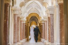 Justine walking down the aisle in unique Monserrate Palace, Sintra, Portugal. #weddingceremonyinportugal #destinationweddinginportugal